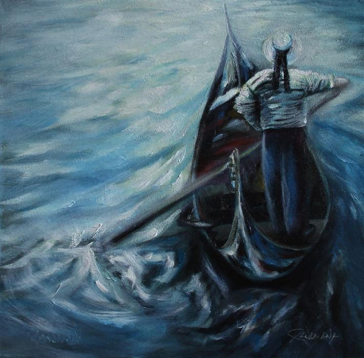Original art for sale at UGallery.com | The Gondolier by PANDALANA WILLIAMS | $450 | Oil painting | 12' h x 12' w | ..\art\oil-painting-The-Gondolier