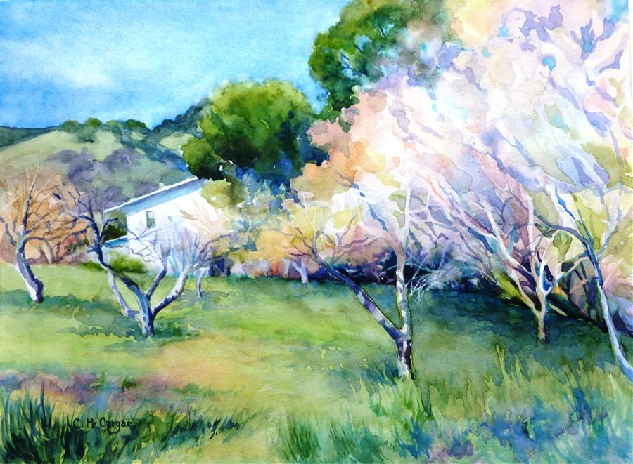 Original art for sale at UGallery.com | Green Valley Spring by CATHERINE MCCARGAR | $600 |  | 12' h x 16' w | ..\art\watercolor-painting-Green-Valley-Spring