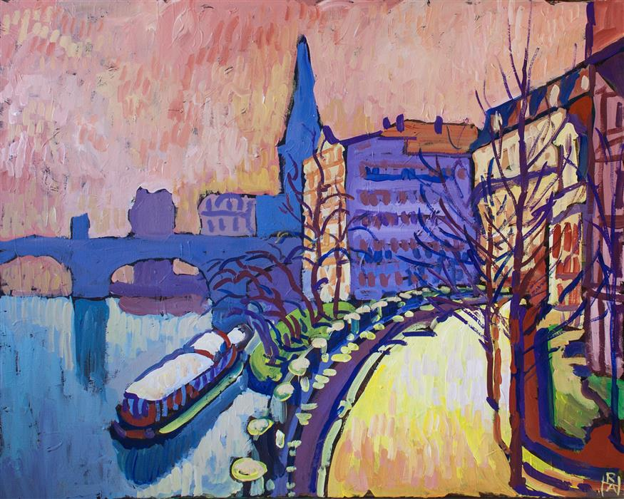 Original art for sale at UGallery.com | City at Dawn by Robert Hofherr | $1,075 | acrylic painting | 24' h x 30' w | ..\art\acrylic-painting-City-at-Dawn