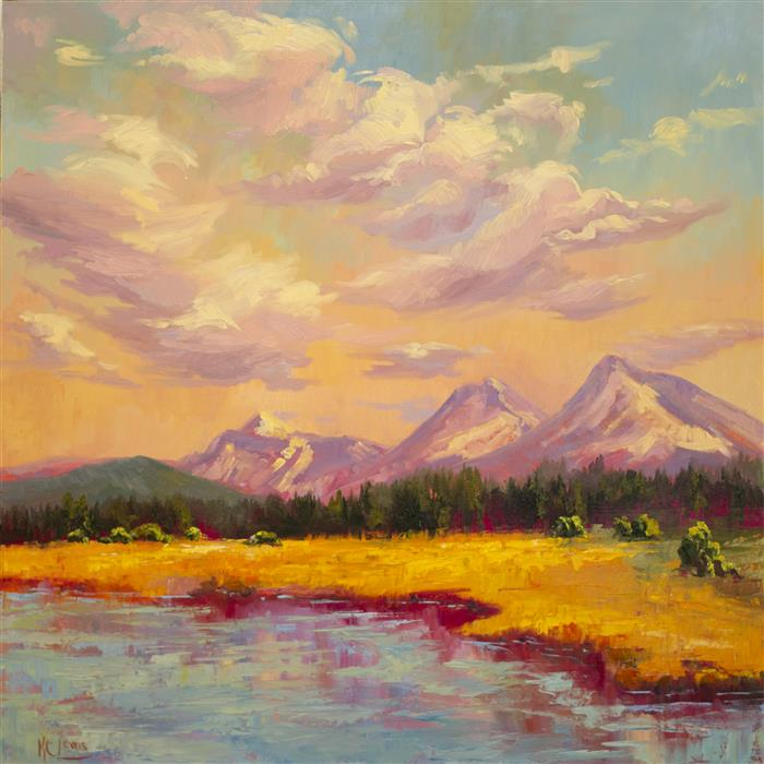 Original art for sale at UGallery.com | Black Butte Lake and Sisters by KAREN E LEWIS | $2,400 |  | 30' h x 30' w | ..\art\oil-painting-Black-Butte-Lake-and-Sisters
