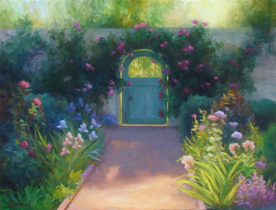 Original art for sale at UGallery.com | Walled Garden by SHERRI ALDAWOOD | $1,025 |  | 18' h x 24' w | ..\art\oil-painting-Walled-Garden