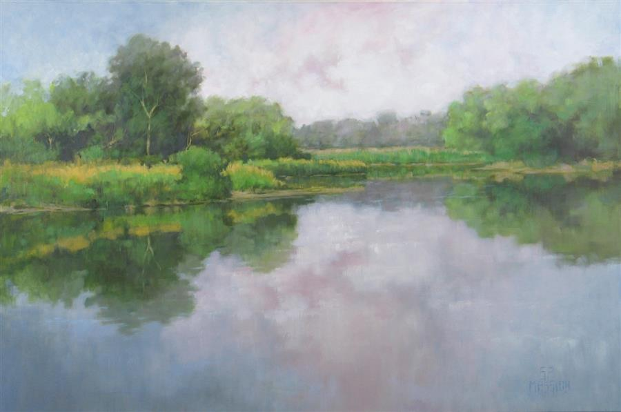 Original art for sale at UGallery.com | Lake, Marsh, and Fen by SUZANNE MASSION | $1,225 | Oil painting | 24' h x 36' w | ..\art\oil-painting-Lake-Marsh-and-Fen