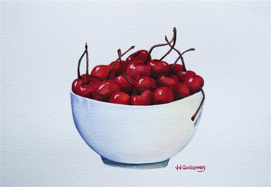 Original art for sale at UGallery.com | Bowl Full of Cherries by JJ GALLOWAY | $300 |  | 7' h x 10' w | ..\art\watercolor-painting-Bowl-Full-of-Cherries