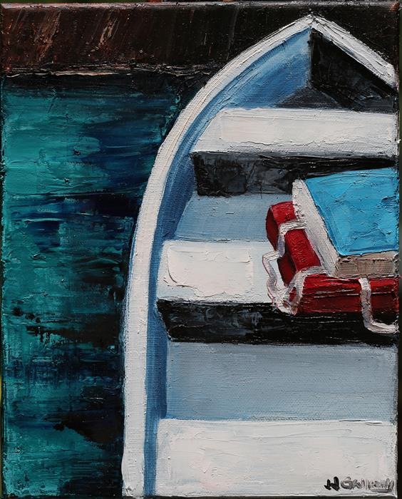 Original art for sale at UGallery.com | Boat Cushions by JJ GALLOWAY | $575 |  | 10' h x 8' w | ..\art\oil-painting-Boat-Cushions