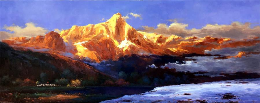 Original art for sale at UGallery.com | Splendid Golden Mountain 1 by JINGSHEN YOU | $1,600 | Oil painting | 32' h x 80' w | ..\art\oil-painting-The-Splendid-Golden-Mountain