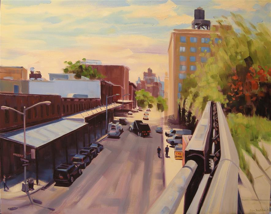 Original art for sale at UGallery.com | Little West 12th and Washington St by ELLEN BRADSHAW | $3,475 |  | 24' h x 30' w | ..\art\oil-painting-Little-West-12th-and-Washington-St