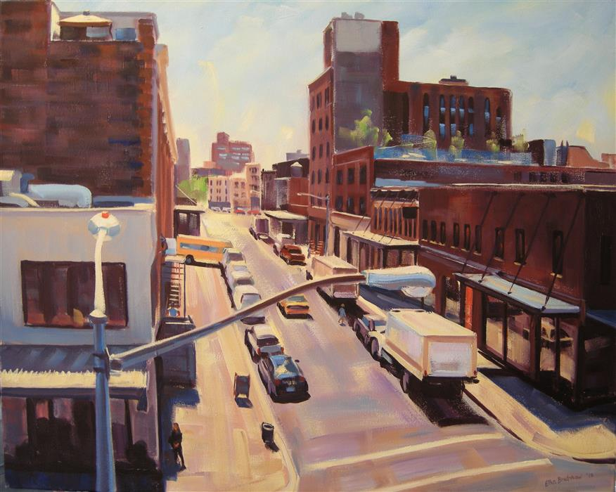 Original art for sale at UGallery.com | Little West 12th and Washington St II by ELLEN BRADSHAW | $3,475 |  | 24' h x 30' w | ..\art\oil-painting-Little-West-12th-and-Washington-St-II