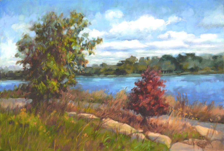 Original art for sale at UGallery.com | Guarding River Park by SUZANNE MASSION | $375 |  | 12' h x 18' w | ..\art\oil-painting-Guarding-River-Park