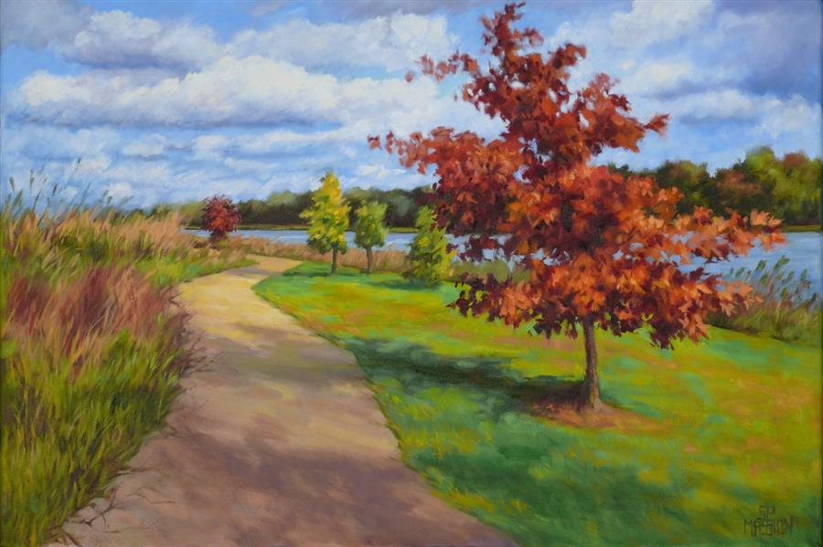 Original art for sale at UGallery.com | Walking River Park by SUZANNE MASSION | $525 | Oil painting | 16' h x 24' w | ..\art\oil-painting-Walking-River-Park