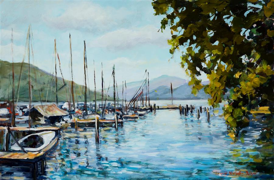 Original art for sale at UGallery.com | Attersee by INGRID DOHM | $2,600 |  | 24' h x 36' w | ..\art\acrylic-painting-Attersee