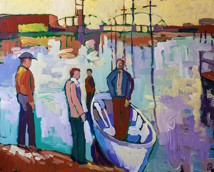 Original art for sale at UGallery.com | Figures with Small Boat by ROBERT HOFHERR | $1,175 | Acrylic painting | 24' h x 30' w | ..\art\acrylic-painting-Figures-with-Small-Boat