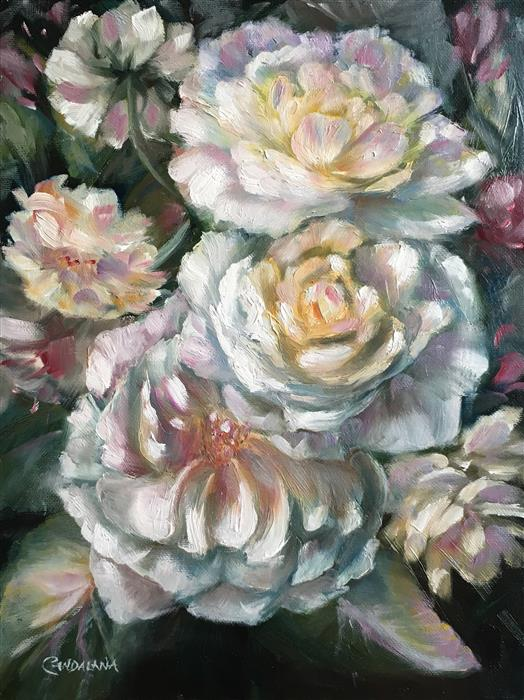 Original art for sale at UGallery.com | Old Fashioned Roses by PANDALANA WILLIAMS | $750 |  | 16' h x 12' w | ..\art\oil-painting-Old-Fashioned-Roses