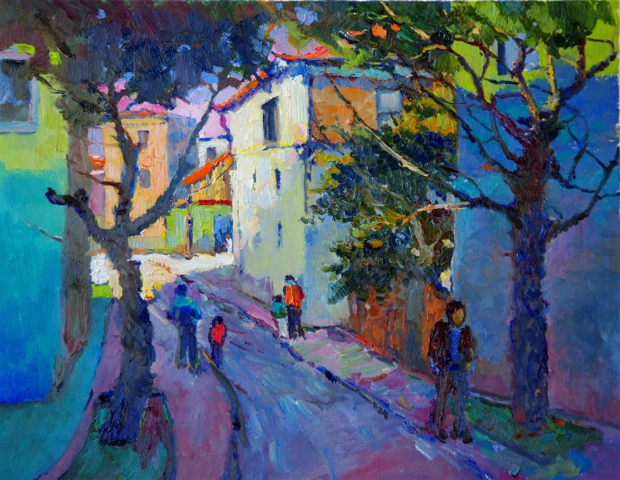 Original art for sale at UGallery.com | Old Street (Early Evening) by SUREN NERSISYAN | $675 | Oil painting | 16' h x 20' w | ..\art\oil-painting-Old-Street-Early-Evening