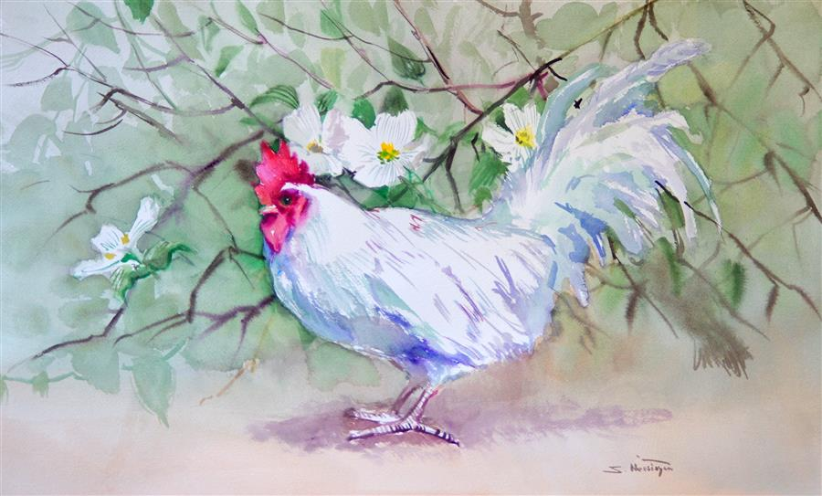 Original art for sale at UGallery.com | White Rooster and Dogwood by SUREN NERSISYAN | $475 | Watercolor painting | 15' h x 24' w | ..\art\watercolor-painting-White-Rooster-and-Dogwood