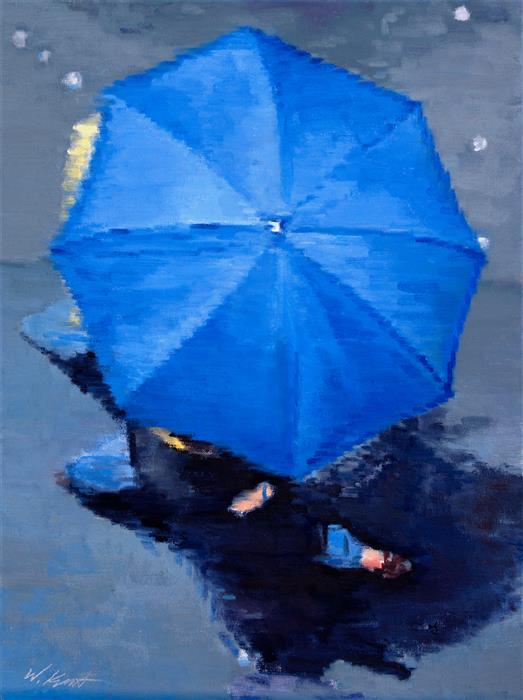 Original art for sale at UGallery.com | Parisian Couple under Blue Umbrella in Paris Rain by Warren Keating | $1,700 | oil painting | 24' h x 18' w | ..\art\oil-painting-Parisian-Couple-under-Blue-Umbrella-in-Paris-Rain