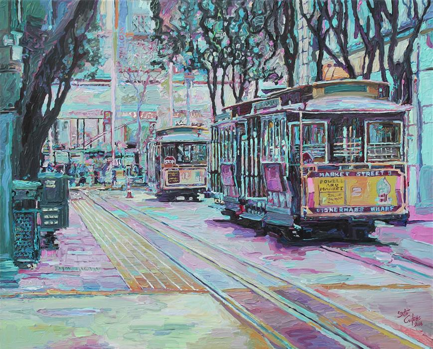 Original art for sale at UGallery.com | Ellis and Powell Looking South by SETH COUTURE | $1,400 |  | 24' h x 30' w | ..\art\acrylic-painting-Ellis-and-Powell-Looking-South