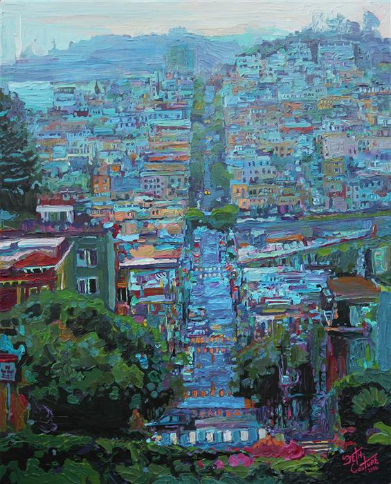 Original art for sale at UGallery.com | Lombard St after the Rain by SETH COUTURE | $775 |  | 20' h x 16' w | ..\art\acrylic-painting-Lombard-St-after-the-Rain