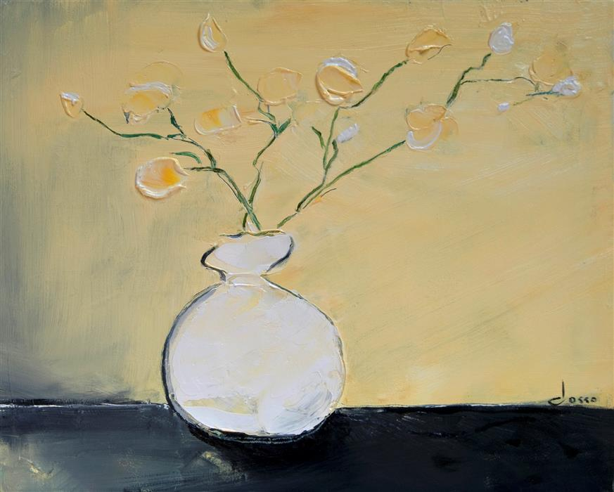 Original art for sale at UGallery.com | White Vase by ANNE DOSSO-POWELL | $625 | Oil painting | 16' h x 20' w | ..\art\oil-painting-White-Vase
