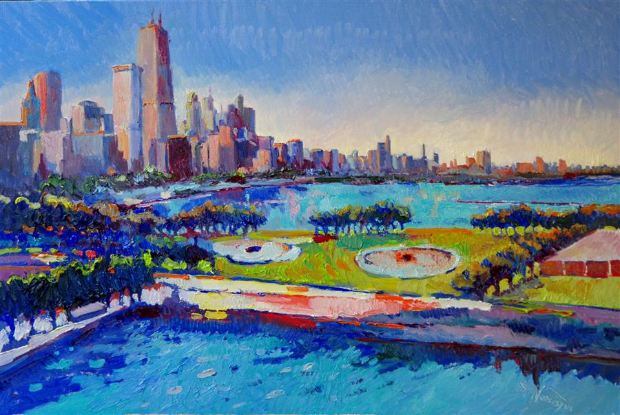 Original art for sale at UGallery.com | Chicago (Blue Sky) by SUREN NERSISYAN | $1,500 | Oil painting | 24' h x 36' w | ..\art\oil-painting-Chicago-Blue-Sky