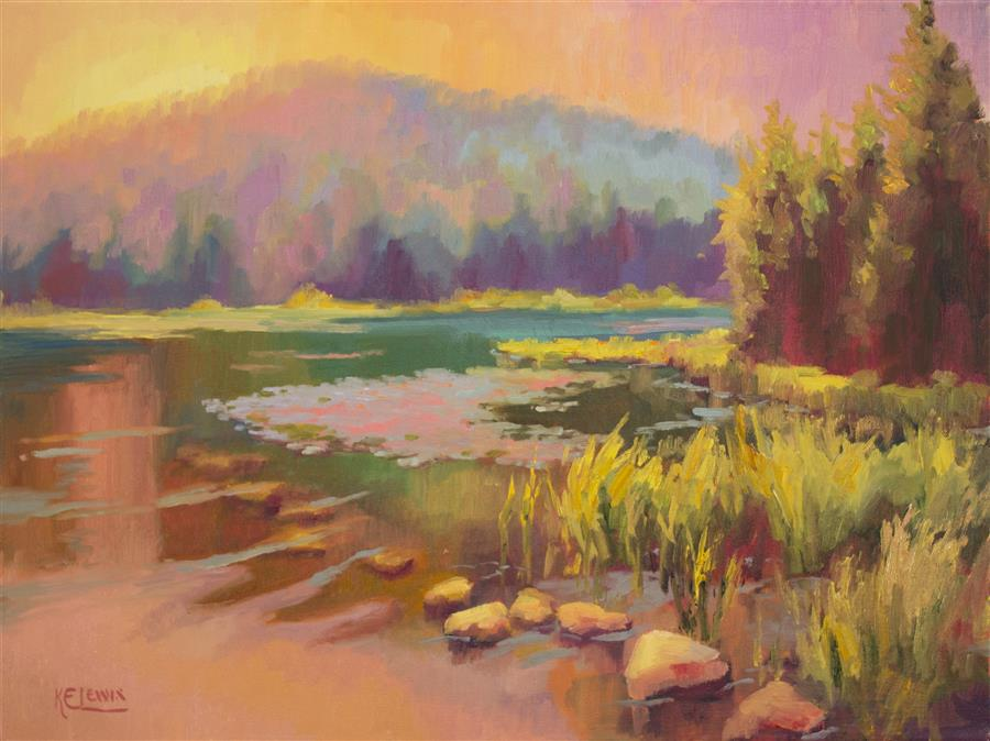 Original art for sale at UGallery.com | Lake Embroidery by KAREN E LEWIS | $875 | Oil painting | 18' h x 24' w | ..\art\oil-painting-Lake-Embroidery