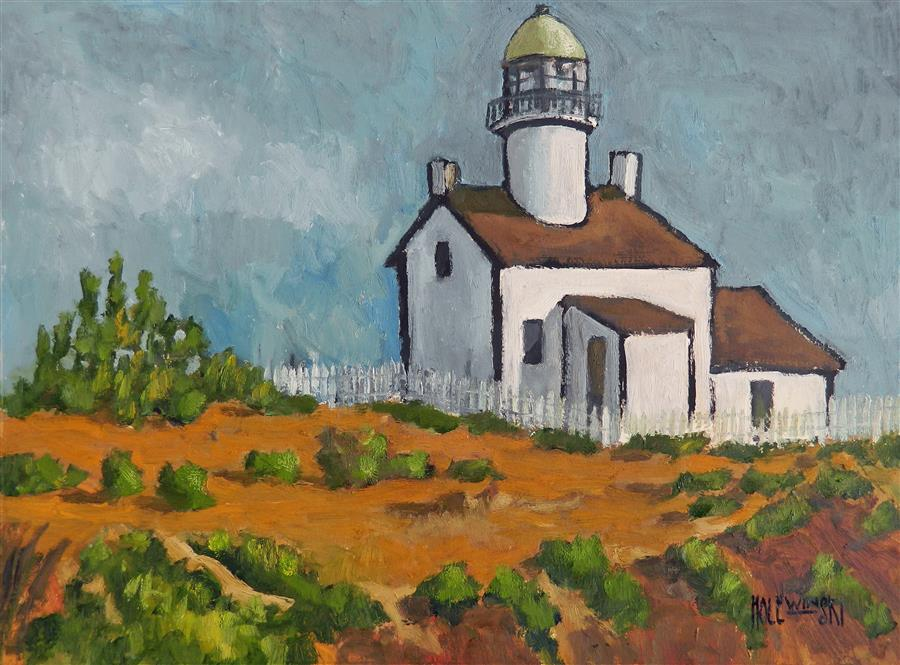 Original art for sale at UGallery.com | Cape Nada Lighthouse by ROBERT  HOLEWINSKI | $1,100 |  | 17' h x 23' w | ..\art\oil-painting-Cape-Nada-Lighthouse