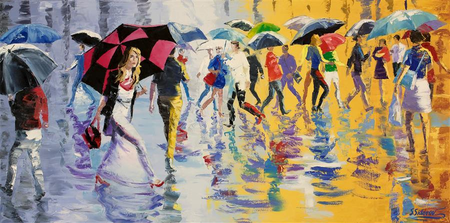 Original art for sale at UGallery.com | Showery Afternoon, Busy New York Street by STANISLAV SIDOROV | $1,725 |  | 20' h x 40' w | ..\art\oil-painting-Showery-Afternoon-Busy-New-York-Street