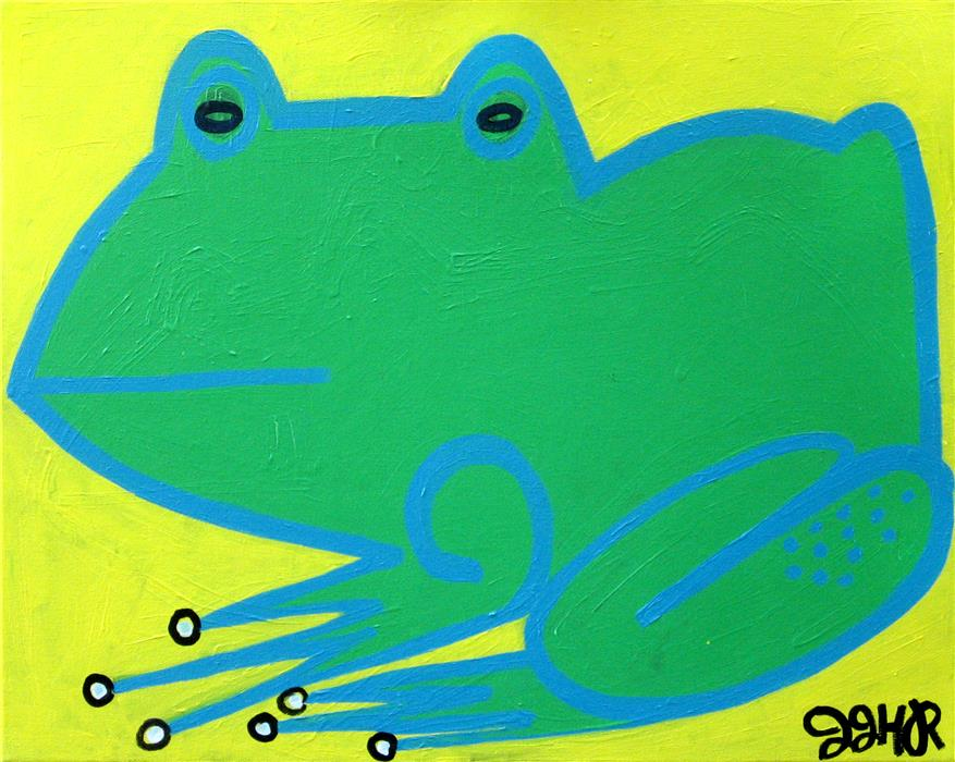 Original art for sale at UGallery.com | Frog by JESSICA JH ROLLER | $625 | Acrylic painting | 16' h x 20' w | ..\art\acrylic-painting-Frog