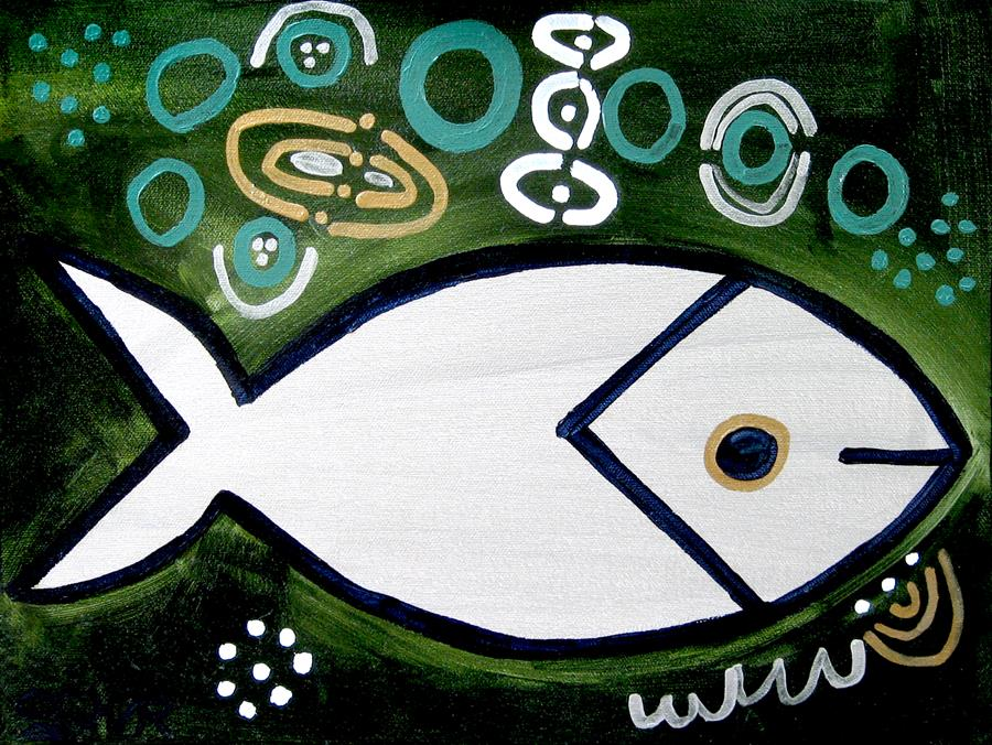 Original art for sale at UGallery.com | Silver Fish by JESSICA JH ROLLER | $375 | Acrylic painting | 12' h x 16' w | ..\art\acrylic-painting-Silver-Fish