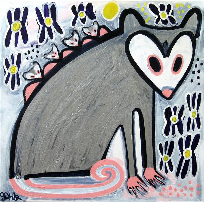 Original art for sale at UGallery.com | Opossum and Her Babies in the Iris by JESSICA JH ROLLER | $700 | Acrylic painting | 20' h x 20' w | ..\art\acrylic-painting-Opossum-and-Her-Babies-in-the-Iris