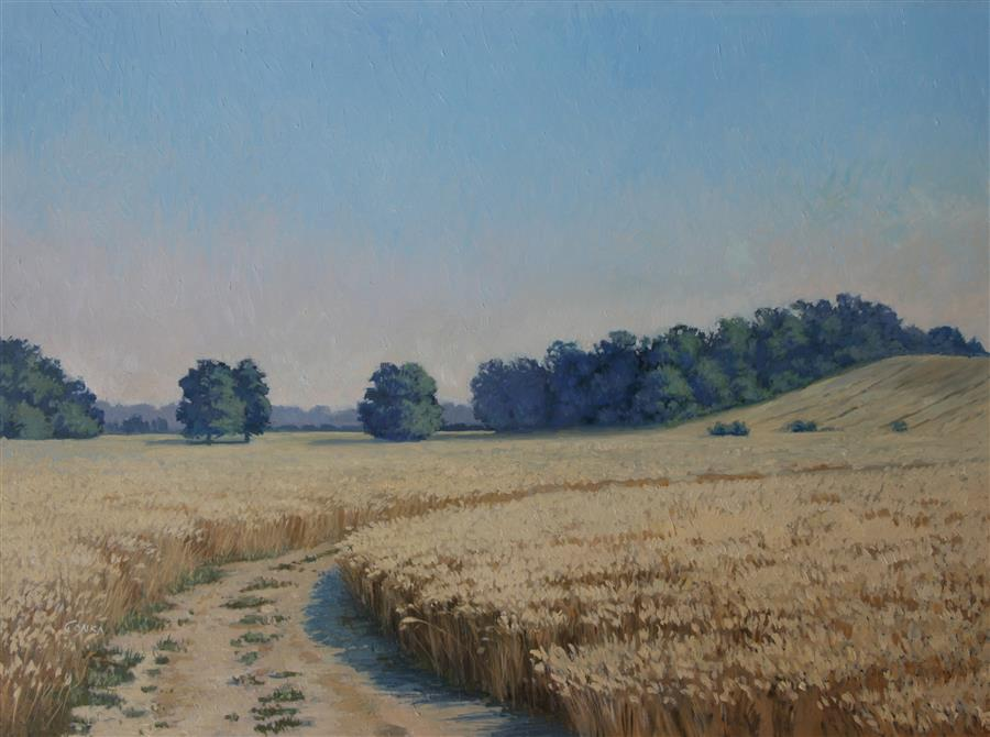 Original art for sale at UGallery.com | At a Wheat Field by Stefan Conka | $1,550 | oil painting | 24.4' h x 31.4' w | ..\art\oil-painting-At-a-Wheat-Field