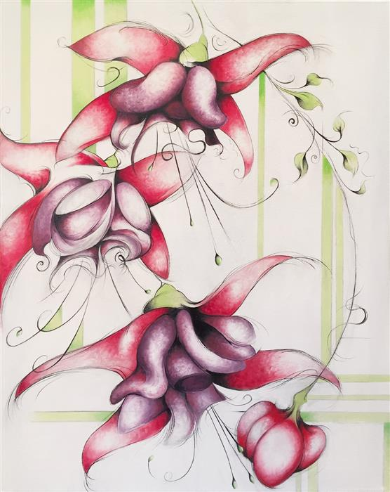 Original art for sale at UGallery.com | Hummingbird Fuchsia by SUMNER CRENSHAW | $500 |  | 20' h x 16' w | ..\art\oil-painting-Hummingbird-Fuchsia