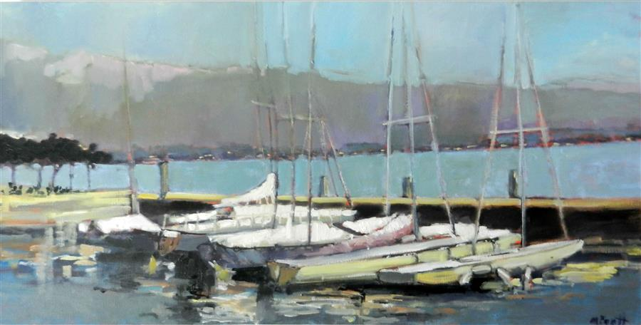 Original art for sale at UGallery.com | View from Lake Garda by MARY PRATT | $3,050 | Oil painting | 24' h x 48' w | ..\art\oil-painting-View-from-Lake-Garda