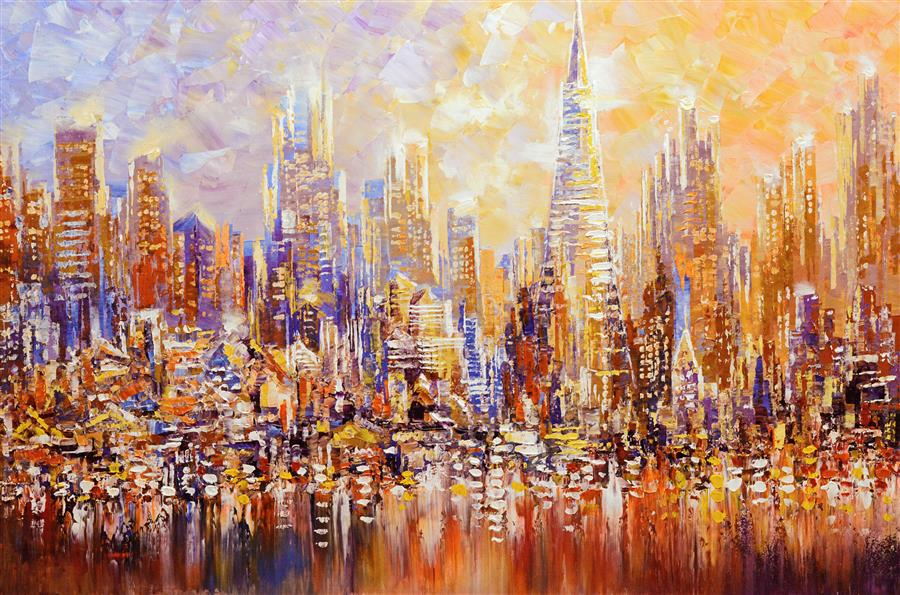 Original art for sale at UGallery.com | San Francisco by the Bay by TATIANA ILIINA | $2,750 |  | 24' h x 36' w | ..\art\acrylic-painting-San-Francisco-by-the-Bay