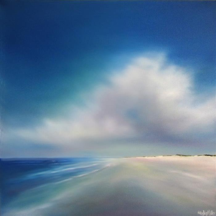 Original art for sale at UGallery.com | Quiet Beach Cloud by NANCY HUGHES MILLER | $850 | Oil painting | 20' h x 20' w | ..\art\oil-painting-Quiet-Beach-Cloud