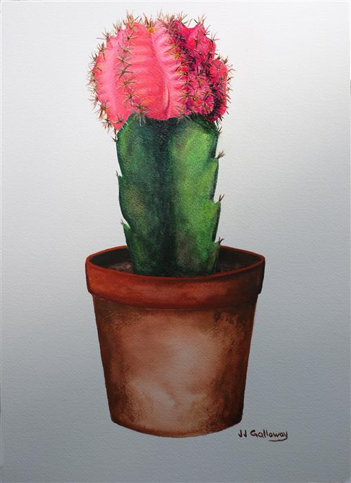 Original art for sale at UGallery.com | Pink Moon Cactus by JJ GALLOWAY | $375 | Watercolor painting | 14' h x 10' w | ..\art\watercolor-painting-Pink-Moon-Cactus