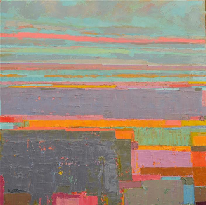 Original art for sale at UGallery.com | Yellow Stripes and the Distant Horizon by SRINIVAS KATHOJU | $1,025 | Oil painting | 30' h x 30' w | https://www.ugallery.com/ProductDetail.aspx?ProductID=47794