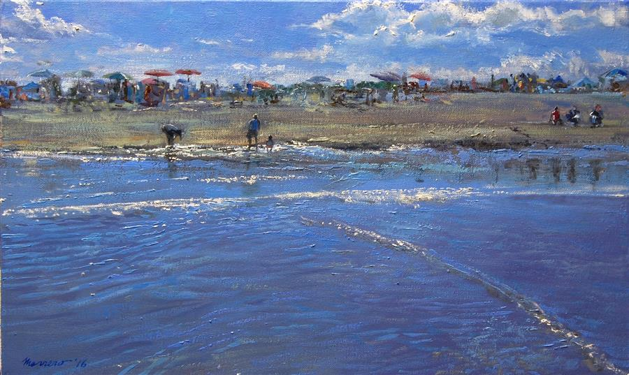 Original art for sale at UGallery.com | Low Tide Pickers by ONELIO MARRERO | $600 |  | 12' h x 20' w | ..\art\oil-painting-Low-Tide-Pickers