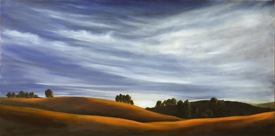 Original art for sale at UGallery.com | Golden Hills XI by MANDY MAIN | $2,025 |  | 24' h x 48' w | ..\art\oil-painting-Golden-Hills-XI