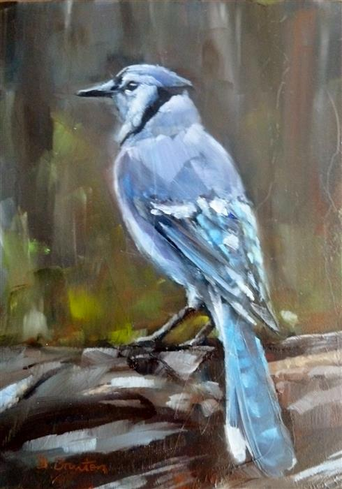 Original art for sale at UGallery.com | Blue Jay by GARY BRUTON | $300 | Oil painting | 7' h x 5' w | ..\art\oil-painting-Blue-Jay