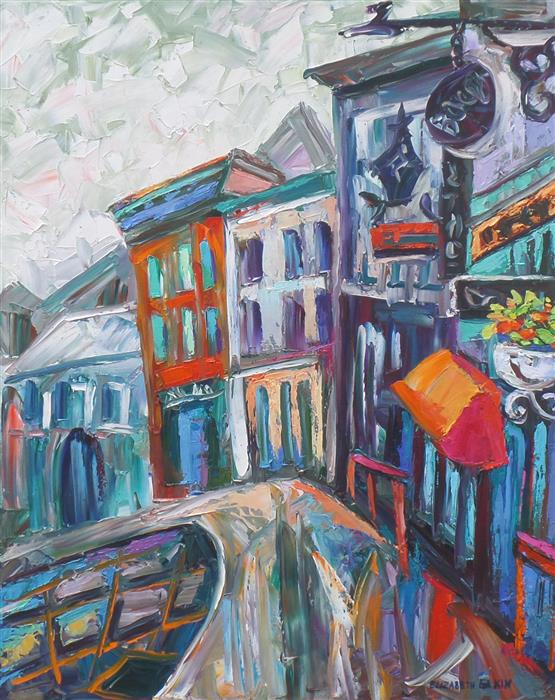 Original art for sale at UGallery.com | Rainy Day in Quebec City by ELIZABETH ELKIN | $775 | Oil painting | 20' h x 16' w | ..\art\oil-painting-Rainy-Day-in-Quebec-City