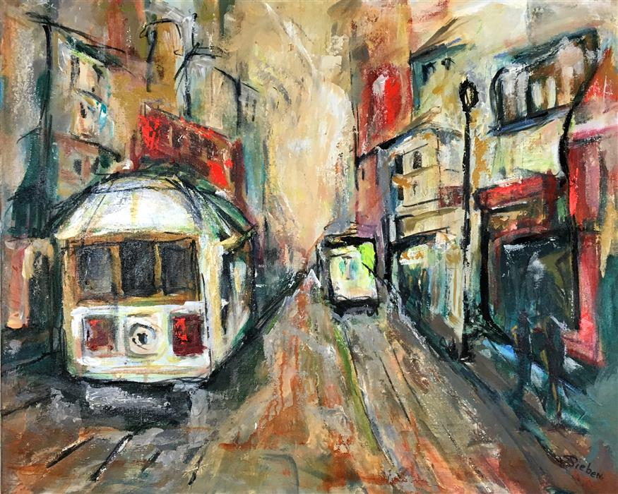 Original art for sale at UGallery.com | Trolley Town by SHARON SIEBEN | $1,150 |  | 24' h x 30' w | ..\art\acrylic-painting-Trolley-Town