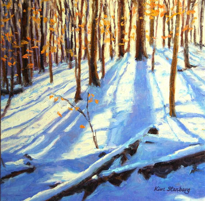 Original art for sale at UGallery.com | Winter Woods by KIM STENBERG | $550 | Oil painting | 12' h x 12' w | ..\art\oil-painting-Winter-Woods
