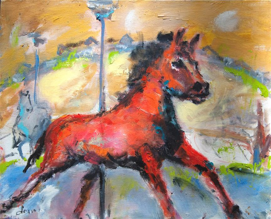 Original art for sale at UGallery.com | Red Horse on Carousel by ANNE DOSSO-POWELL | $500 | Oil painting | 16' h x 20' w | ..\art\oil-painting-Red-Horse-on-Carousel