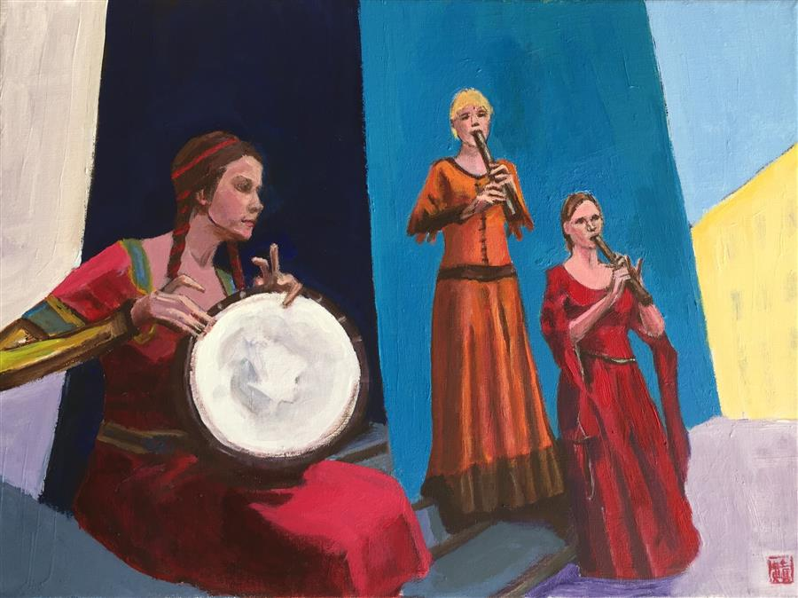 Original art for sale at UGallery.com | Three Street Performers by LAURA (YI ZHEN) CHEN | $525 |  | 12' h x 16' w | ..\art\acrylic-painting-Three-Street-Performers