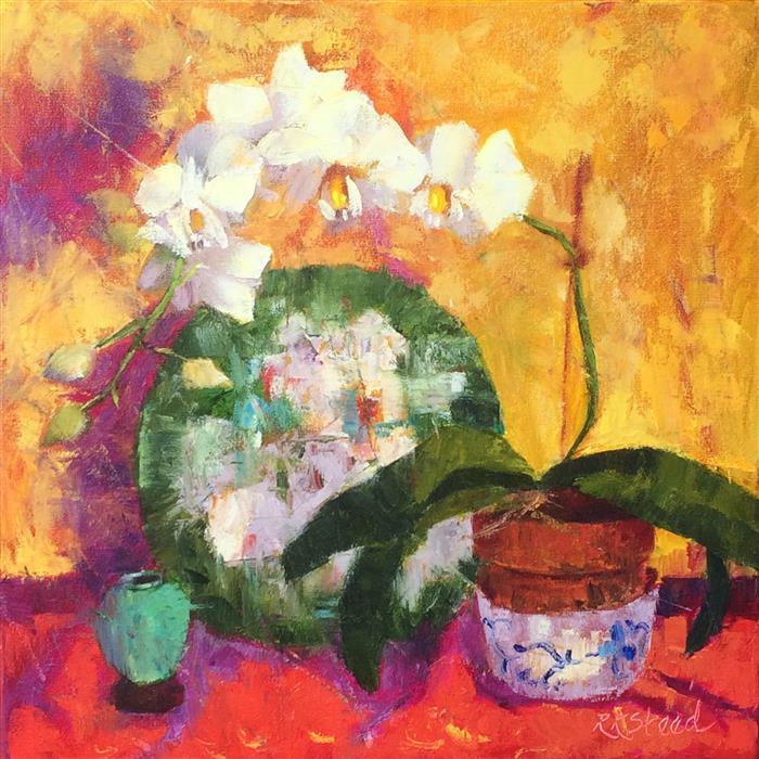 Original art for sale at UGallery.com | White Orchids and Provence Linens by ROXANNE STEED | $825 | Oil painting | 18' h x 18' w | ..\art\oil-painting-White-Orchids-and-Provence-Linens