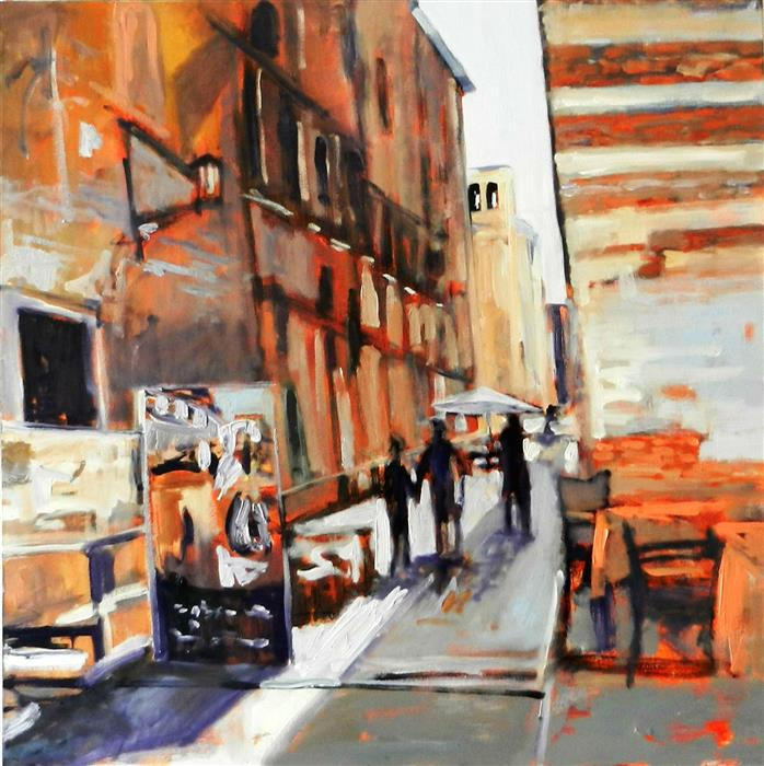 Original art for sale at UGallery.com | Street in Florence by MARY PRATT | $2,775 | Oil painting | 36' h x 36' w | ..\art\oil-painting-Street-in-Florence