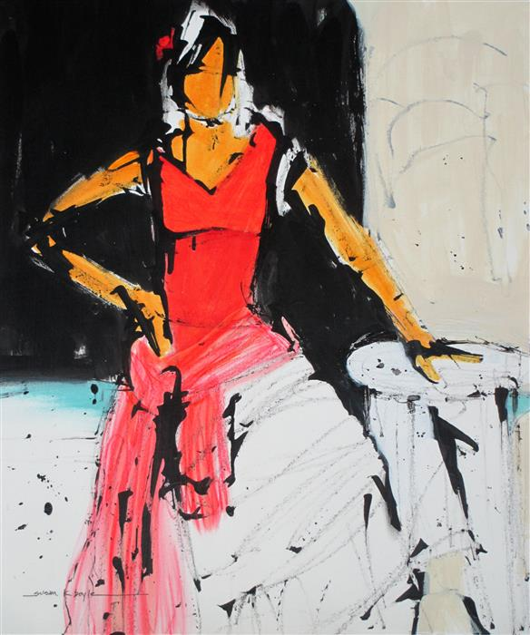 Original art for sale at UGallery.com | The Red Dress by SUSAN K BOYLE | $550 |  | 21.75' h x 18.25' w | ..\art\acrylic-painting-The-Red-Dress