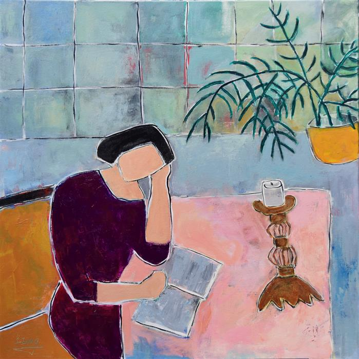 Original art for sale at UGallery.com | Woman Reading II by FENG BIDDLE | $1,300 |  | 30' h x 30' w | ..\art\acrylic-painting-Woman-Reading-II