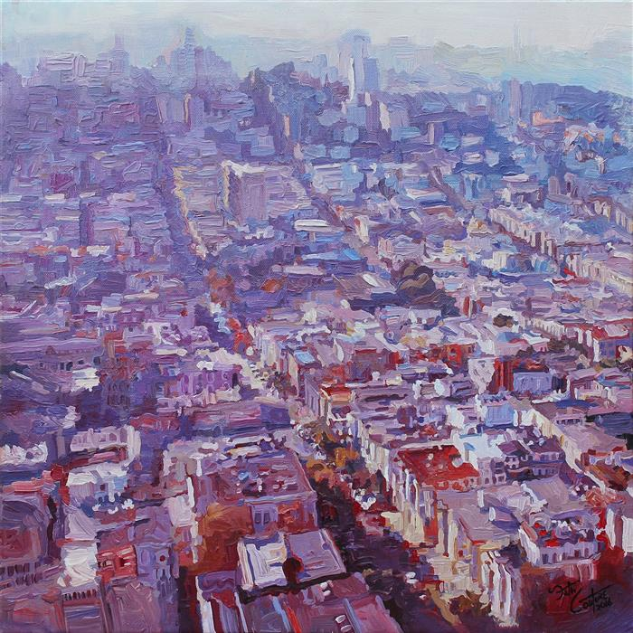 Original art for sale at UGallery.com | Looking North From Telegraph Hill by SETH COUTURE | $675 |  | 16' h x 16' w | ..\art\acrylic-painting-Looking-North-From-Telegraph-Hill
