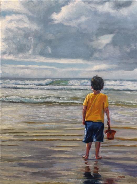 Original art for sale at UGallery.com | Child Looking Southeast by ANDRES LOPEZ | $975 |  | 24' h x 18' w | ..\art\oil-painting-Child-Looking-Southeast